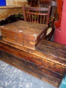 TWO ANTIQUE PINE BOXES (2)