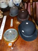 THREE BOWLER HATS AND AN ANEROID BAROMETER