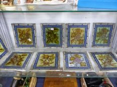 TEN LEADED GLASS PANELS DEPICTING FRUIT AND FLOWERS