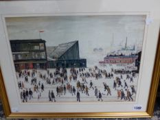 A COLLECTION OF FURNISHING PICTURES INCLUDING TWO AFTER LOWRY, PLUS WATERCOLOUR ETCHINGS ETC.