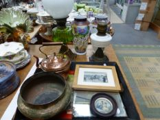TWO OIL LAMPS, A COPPER KETTLE, A BOWL, A TRAY AND TWO PRINTS