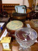 A CARRIAGE TIMEPIECE TWO FOOTSTOOLS, A TABLE LAMP, A COOPERED BUCKET, LEATHER CASE TAPE MEASURE