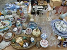 DRINKING GLASS, ROYAL SOUVENIR MUGS, DECANTERS AND MISCELLANEOUS CERAMICS
