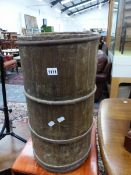 AN ANTIQUE BANDED CHURN