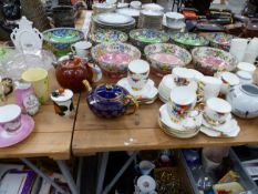 EIGHT MALING BOWLS TOGETHER WITH VARIOUS TEA WARES AND GLASS