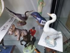 THREE COPENHAGEN FIGURES, A LLADRO GOOSE AND A DOULTON BOY GOING TO BED