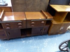A PAIR OF ART DECO MAHOGANY BEDSIDE TABLES WITH PULL OUT SLIDES, AND A FURTHER PALE WALNUT SIDE