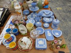 WEDGWOOD BLUE JASPER TOGETHER WITH OTHER CERAMICS AND GLASS