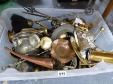 A COLLECTION OF BRASS AND COPPER WARES