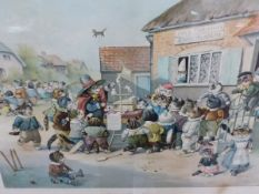 A COMIC VINTAGE COLOUR PRINT OF THE CATS HALF HOLIDAY, TOGETHER WITH TWO LANDSCAPE COLOUR PRINTS AND