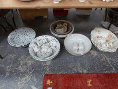 VARIOUS POTTERY WASH BOWLS AND PART SETS