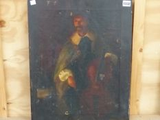A LATE 19TH CENTURY UNFRAMED PAINTING OF A 17TH CENTURY STYLE GENTLEMAN PLAYING A CELLO, 51 x 41cm