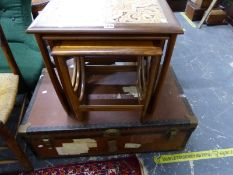 A RETRO NEST OF TABLES AND A CABIN TRUNK