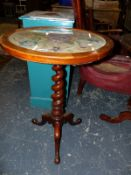 A TRIPOD TABLE WITH EMBROIDERY INSET TOP