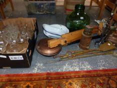 BRASS FIRE IRONS, A COPPER KETTLE, A GLASS DEMI-JOHN, AN EASEL AND AN OIL LAMP