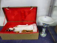 A BOXED PORCELAIN FIGURE OF GUANYIN. H 45cms. TOGETHER WITH A CHINESE WUCAI TRUMPET VASE