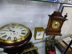 A COMITTI WALL CLOCK TOGETHER WITH TWO MANTEL CLOCKS