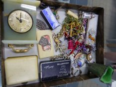 VINTAGE AND LATER COSTUME JEWELLERY TO INCLUDE SILVER ITEMS, DRESSING TABLE HARDSTONE CLOCK, BRASS