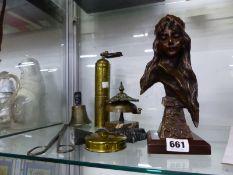 AN ART NOUVEAU STYLE BRONZE BUST ON BAKELITE BASE, AN ANTIQUE DESK BELL, A BRASS COFFEE GRINDER, CU