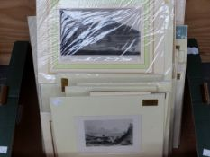 A COLLECTION OF MOUNTED ANTIQUE AND LATER TOPOGRAPHICAL PRINTS, PHOTOGRAPHS ETC, SIZES VARY, ALL