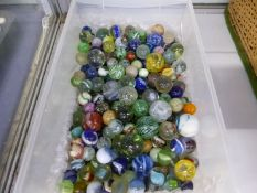 A COLLECTION OF GLASS MARBLES