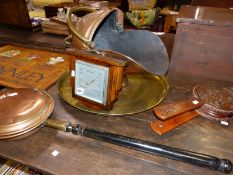 CARVED OAK BELLOWS, A COPPER COAL SCUTTLE, BRASS TRAY, WARMING PAN AND AN ART DECO BAROMETER.