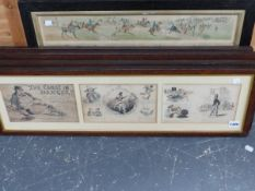 TWO GROUPS OF ANTIQUE OAK FRAMED HAND COLOURED PRINTS, ONE THE COAST IN DANGER, PUBLISHED BY