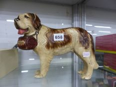 A SHOP DISPLAY ST BERNARD DOG FITTED WITH A BARREL OF HENNESSY