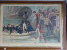 A MAPLE FRAMED VINTAGE COLOUR PRINT OF NELSON LEAVING PORTSMOUTH, AFTER FRED ROE, 60 x 88 cm