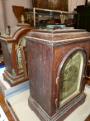 TWO MAHOGANY CASED STRIKING MANTLE CLOCKS TOGETHER WITH A WALL CLOCK