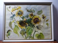 BARBARA CROWE ( ) ARR. SUNFLOWERS, SIGNED OIL ON CANVAS EXHIBITION LABEL VERSO 71 x 92 cm