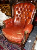 A VICTORIAN STYLE BUTTON BACK ARMCHAIR
