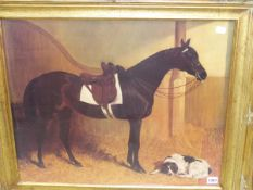 A DECORATIVE GILT FRAMED PICTURE OF A HORSE AND DOG IN A STABLE, TOGETHER WITH TWO IMAGES OF