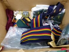 VARIOUS MILITARY BLAZER BADGES, TIES, A PAIR OF DENTS GLOVES, NORTHERN IRELAND CAMPAIGN MEDAL TO