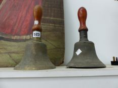 TWO VINTAGE MILITARY MARKED HAND BELLS
