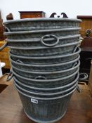 EIGHT GALVANIZED TUBS WITH RING HANDLES.