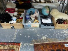 A MERRYTHOUGHT SEAL PYJAMA CASE SOFT TOYS, POOLE AND OTHER CERAMICS, A TERRESTIAL GLOBE, BOOKS AND