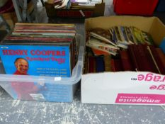 A COLLECTION OF LP RECORDS, MAINLY EASY LISTENING TOGETHER WITH BOOKS AND MAGAZINES
