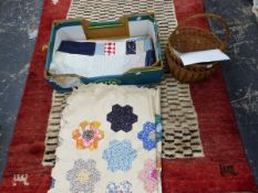 TWO PATCHWORK QUILTS AND A SHOPPING BASKET