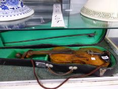A CASED VIOLIN AND BOW