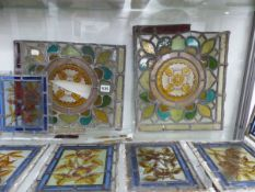 NINE LEADED GLASS PANELS OF FRUIT AND FLOWERS
