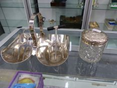 A SILVER PLATED CONDIMENT DISH, A BREAD FORK IN THE MANNER OF CHRISTOPHER DRESSER, ONE OTHER FORK,