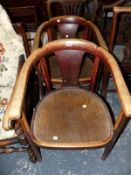 A PAIR OF ART DECO BENTWOOD CHAIRS (2)
