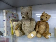 TWO TEDDY BEARS TOGETHER WITH BEATRIX POTTER BOOKS