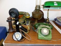 FOUR VARIOUS TELEPHONE SETS, A TABLE LAMP, AN OIL LAMP AND A CLOCK