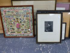 GROUP OF ANTIQUE TOPOGRAPHICAL PRINTS, TOGETHER WITH A NEEDLEWORK PANEL ETC, SIZES VARY