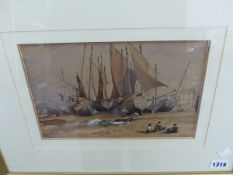 19TH CENTURY ENGLISH SCHOOL, FISHING BOATS, HASTINGS, INITIALLED , WATERCOLOUR, 34 x 42cm