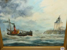 ROGER BEDINGFIELD (20TH CENTURY) ARR. TWO NAIVE VIEWS OF FISHING BOATS, SIGNED, OIL ON BOARD,