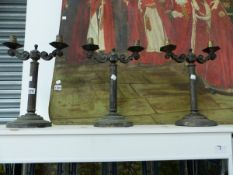 A SET OF THREE NAVAL TWO BRANCH SILVER PLATED CANDELABRA ELECTRIC LIGHTS