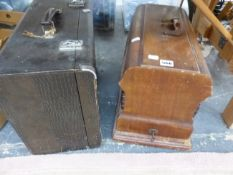 A LEATHERETTE CASED SINGER SEWING MACHINE TOGETHER WITH ANOTHER IN A WOODEN CASE